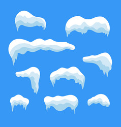 Snow ice icicle set winter design white blue snow vector