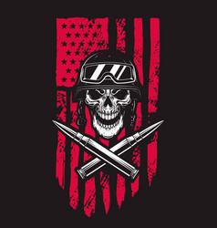 Soldier skull on american flag background design vector