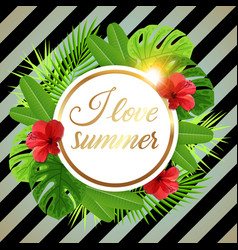 summer tropical banner with red flowers vector image