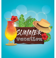 Summer vacation poster with palm leaves tropical vector