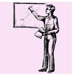 Teacher near blackboard vector