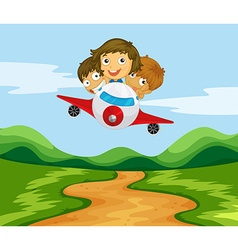 Three kids flying the plane over the hills vector