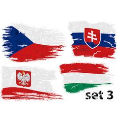 Torn flag czech slovakia poland and hungary vector