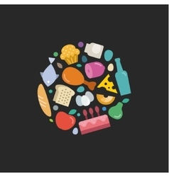 Unique set of Flat icons Food under the Logo vector image