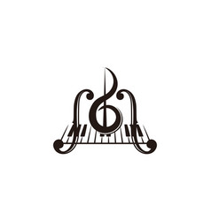 Violin piano key musical instrument logo vector
