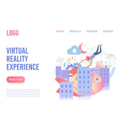 virtual reality experience flat landing vector image