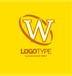 w logo template yellow background circle brand vector image