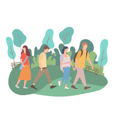 Walking young people men and women in colorful vector