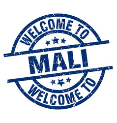 Welcome to mali blue stamp vector