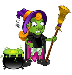Witch Looking At Cauldron Unsure vector