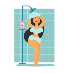 woman in foam taking shower washing hair vector image