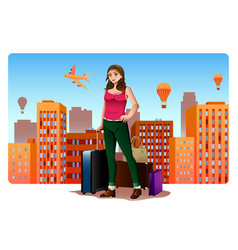 young woman traveling around the world concept vector image