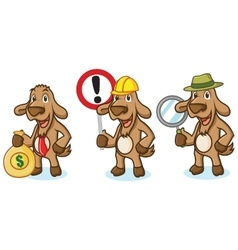 Brown Goat Mascot with sign vector image vector image