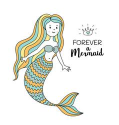 cute little mermaid under the sea vector image vector image