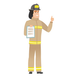 firefighter with clipboard giving thumb up vector image