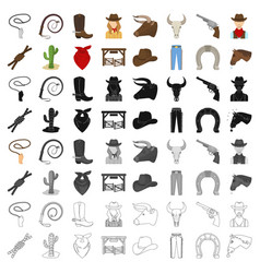 rodeo set icons in cartoon style big collection vector image