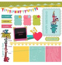 Scrapbook Design Elements - Birthday Baby Set vector image