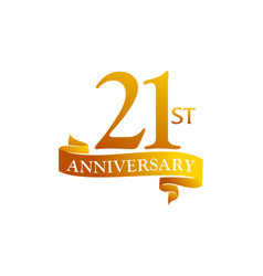 21 year ribbon anniversary vector image