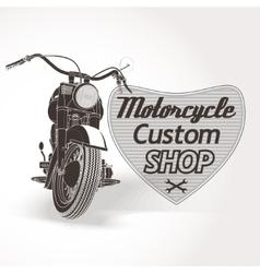 Motorcycle custom motor shop emblem vector image