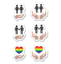 Rainbow gay and lesbian symbols in heart with han vector image vector image