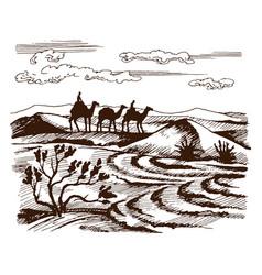sketch of the caravan vector image vector image