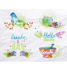 Watercolor symbols beauty vector image vector image