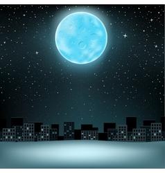 big blue moon over city vector image