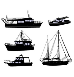 boats silhouettes vector image