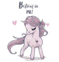 cute shy pink unicorn vector image vector image