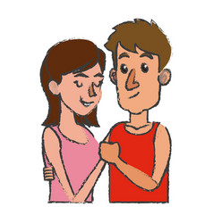 embracing couple relationship together design vector image vector image