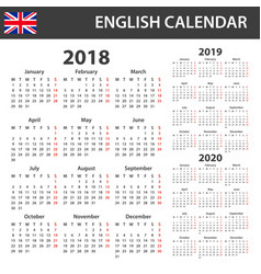 english calendar for 2018 2019 and 2020 scheduler vector image