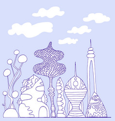 monochrome colorful fantastic city cartoon vector image