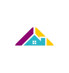 roof house architecture colored logo vector image vector image