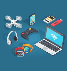 Set of modern wireless technology in cartoon style vector