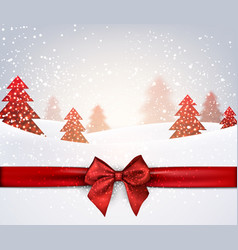 winter holiday background with red bow vector image vector image