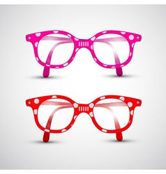 Abstract Funny Red Pink Glasses with Dots vector image vector image