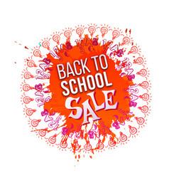 back to school sale on orange splash vector image