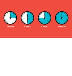 Clock Set of time in one hourquarter vector image vector image