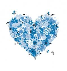 floral heart shape love vector image