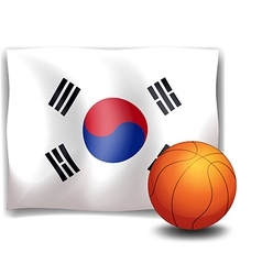 The flag of Korea at the back of a ball vector image vector image