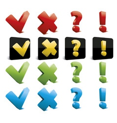 tick cross question and exclamation marks vector image vector image