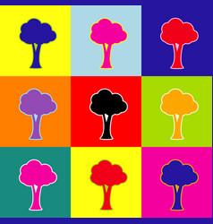 tree sign pop-art style vector image