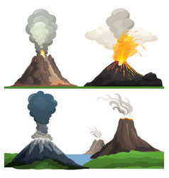 volcano eruption on white vector image