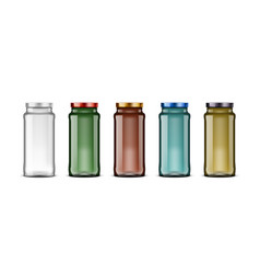 3d colored glass jar with color lids vector image