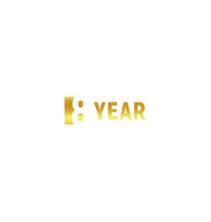 8 year happy birthday gold logo on white vector image