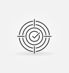 Aim on checkmark line icon check mark goal vector
