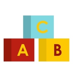 Alphabet cubes icon flat style vector
