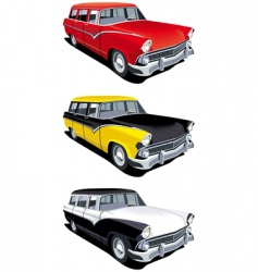 American retro station wagon vector image