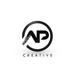 ap brush letter logo design creative brushed vector image
