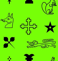 Authentic medieval heraldry elements seamless vector image